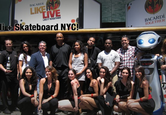 Bacardi used the skateboard to grab the crowd's attention and promote their produc in NYC!