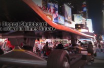 World's Largest Skateboard Draws Crowd at Times Square NYC